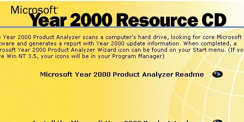 Microsoft's Year 2000 Resource Center CD